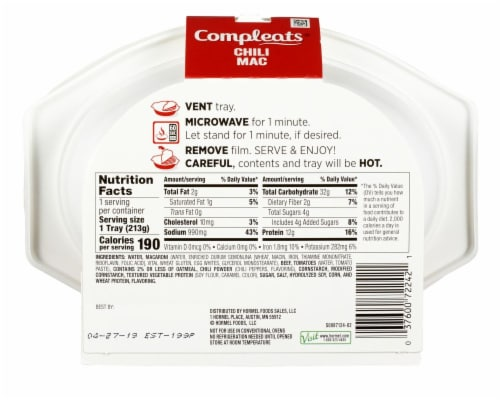 Hormel® Compleats Chili Mac Perspective: back