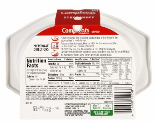 Hormel Compleats Stroganoff with Beef and Noodles Perspective: back
