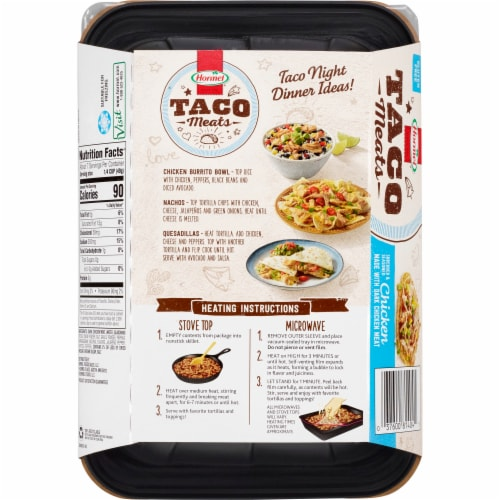 Hormel Shredded & Seasoned Chicken Taco Meat Perspective: back