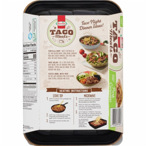 Hormel Pork Carnitas Fully Cooked Taco Meat Perspective: back