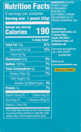Skippy Creamy Peanut Butter Pouches 8 Count Perspective: back