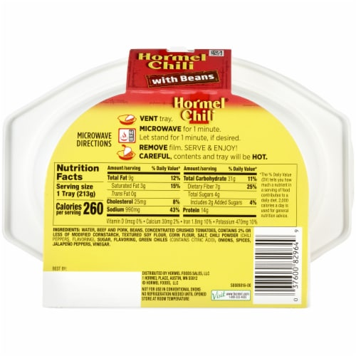 Hormel Chili with Beans Microwavable Tray Perspective: back