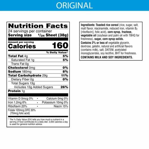 Rice Krispies Treats Original Treat Sheet Crispy Marshmallow Squares Perspective: back