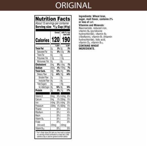Kellogg's All-Bran Breakfast Cereal Original Perspective: back