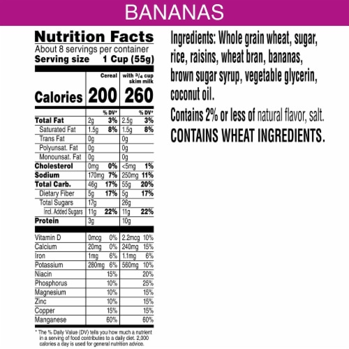 Kellogg's Raisin Bran Breakfast Cereal with Bananas Perspective: back