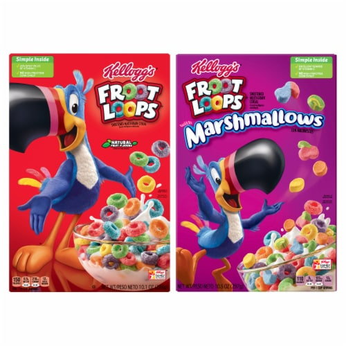 Froot Loops & Froot Loops with Marshmallows Cereal Perspective: back