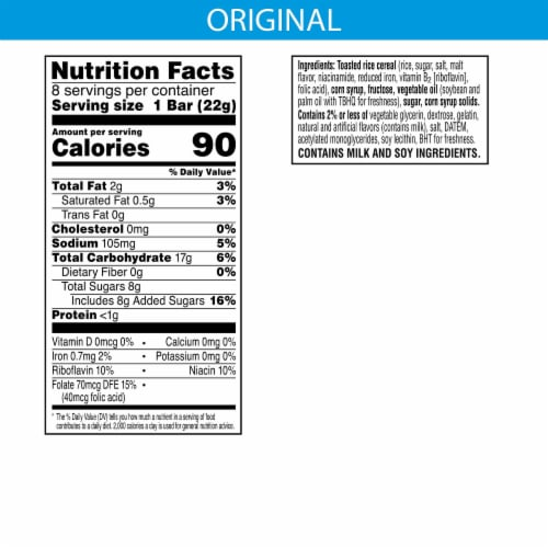 Kellogg's Rice Krispies Treats Marshmallow Squares Bars Original Perspective: back
