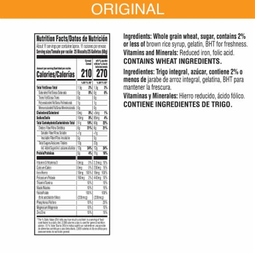 Kellogg's Frosted Mini-Wheats Breakfast Cereal Original Family Size Perspective: back