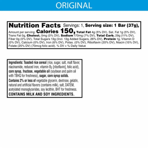 Rice Krispies Treats Original Crispy Marshmallow Square Perspective: back