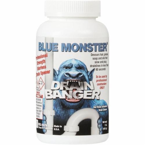BLUE MONSTER Drain Banger 1 Lb. Flakes Drain Opener & Cleaner 76055 Perspective: back