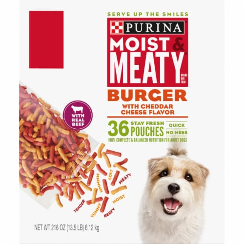 Moist & Meaty Burger with Cheddar Cheese Flavor Dry Dog Food Stay Fresh Pouches Perspective: back