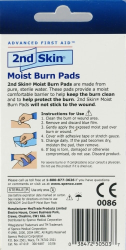 Spenco 2nd Skin Moist Burn Pads 4 Count Perspective: back