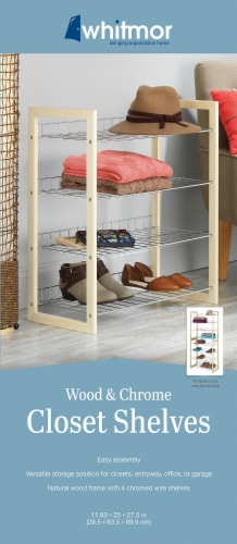 Whitmor Wood and Chrome Closet Shelves - Natural/Silver Perspective: back