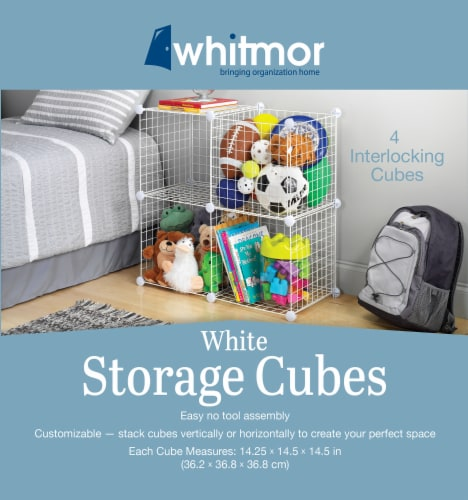 Whitmor Storage Cubes - 4 Piece - White Perspective: back