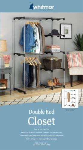 Whitmor Double Rod Closet Organizer Kit - Silver/Black Perspective: back