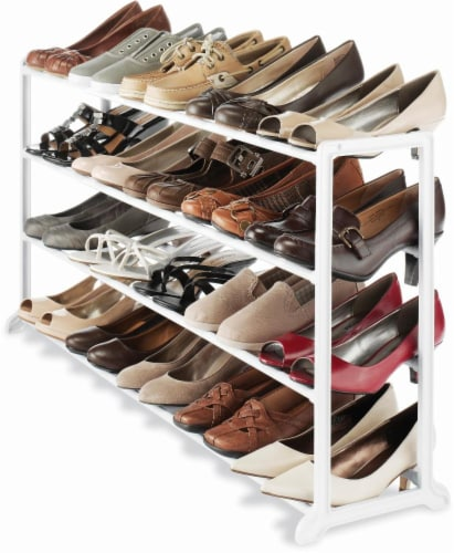 Whitmor Resin Shoe Rack - White Perspective: back
