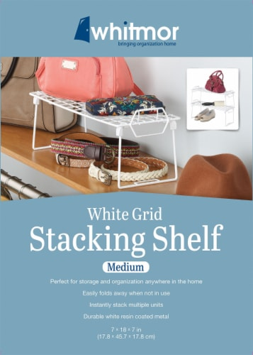 Whitmor Grid Stacking Shelf - White Perspective: back