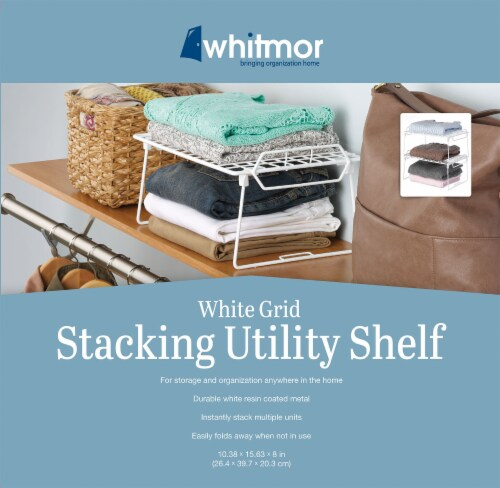 Whitmor Grid Pattern Stacking Utility Shelf - White Perspective: back
