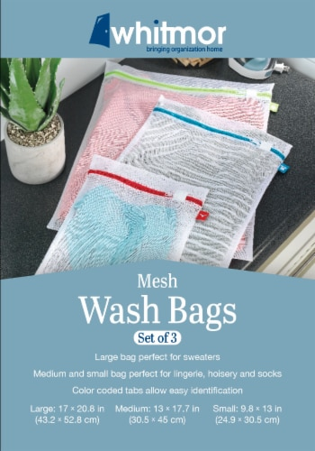 Whitmor Mesh Wash Bags - White Perspective: back