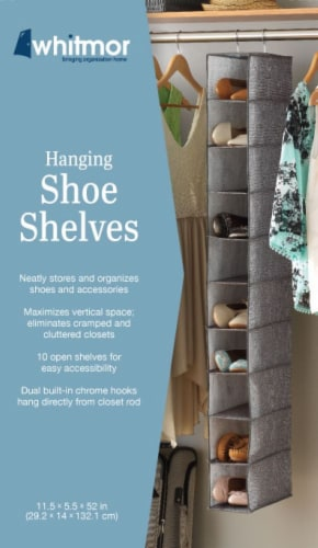 Whitmor Hanging Shoe Shelves - Crosshatch Gray Perspective: back