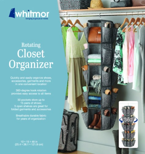 Whitmor Rotating Closet Organizer - Crosshatch Gray Perspective: back