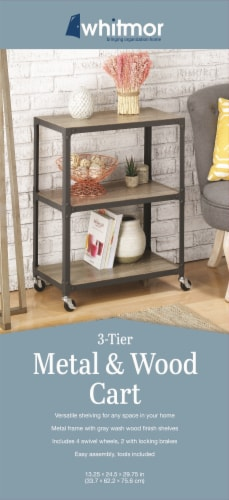 Whitmor 3 Tier Metal & Wood Cart - Gunmetal Perspective: back