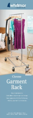 Whitmor Chrome Commercial Folding Garment Rack - Silver Perspective: back