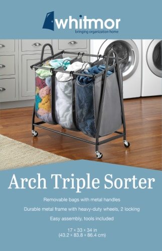 Whitmor Triple Arched Sorter - Gunmetal Gray Perspective: back