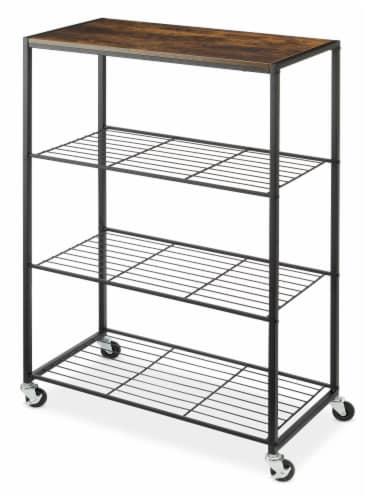 Whitmor Modern Industrial 4-Tier Portable Storage Shelf - Natural/Black Perspective: back