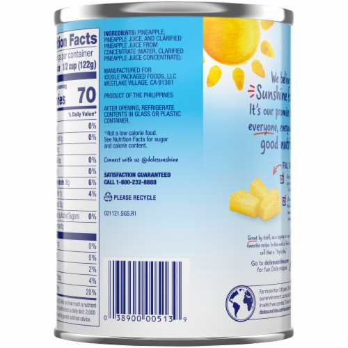 Dole Canned Pineapple Tidbits in 100%  Pineapple Juice Perspective: back