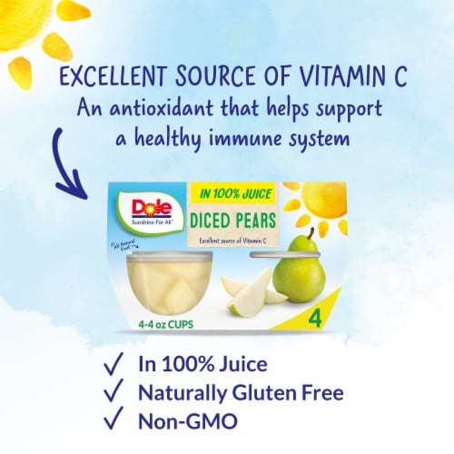 Dole® Diced Pears in 100% Fruit Juice Cups Perspective: back