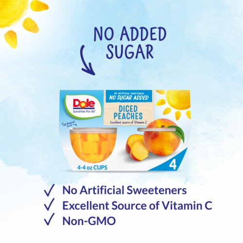 Dole No Sugar Added Yellow Cling Diced Peach Cups Perspective: back