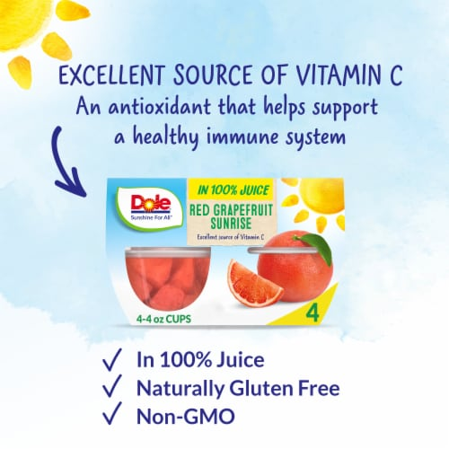 Dole Red Grapefruit Sunrise in 100% Fruit Juice Perspective: back