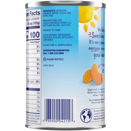 Dole Mandarin Oranges in Light Syrup Perspective: back