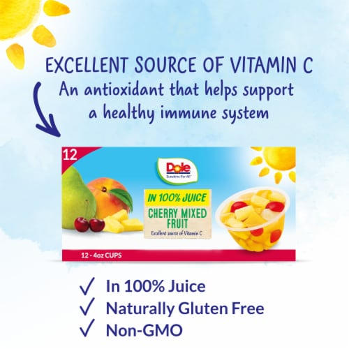 Dole® Cherry Mixed Fruit in 100% Fruit Juice Cups Perspective: back