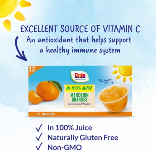 Dole Mandarin Oranges in 100% Fruit Juice Perspective: back