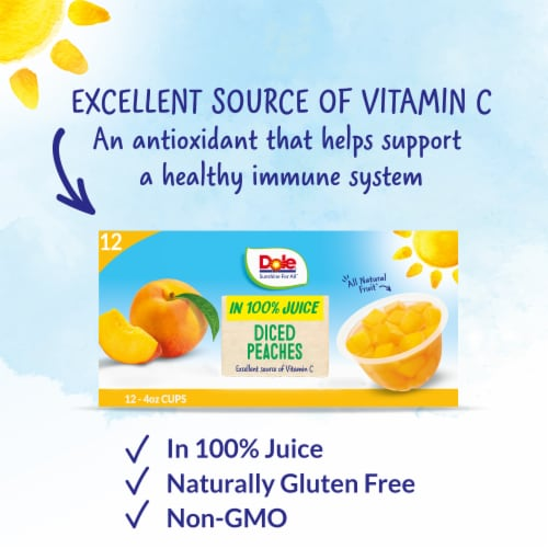 Dole® Diced Peaches in 100% Fruit Juice Cups Perspective: back