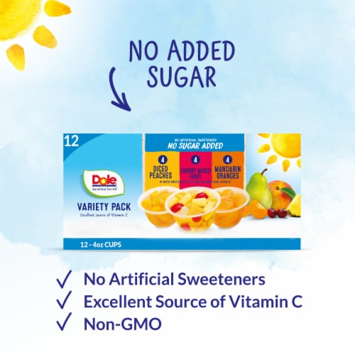 Dole No Sugar Fruit Cups Variety Pack Perspective: back