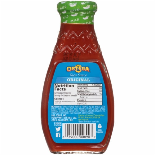 Ortega Thick & Smooth Mild Taco Sauce Perspective: back