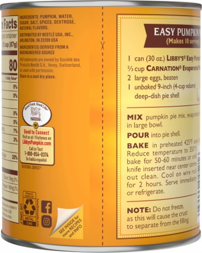 Libby's Easy Pumpkin Pie Mix Perspective: back