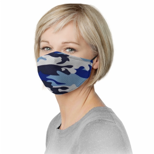 Grand Fusion Adult Non-Medical Mask with Filter - 3 PACK Blue Camo Perspective: back