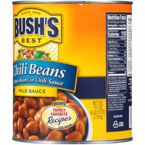 Bush's Best Mild Sauce Canned Pinto Chili Beans Perspective: back