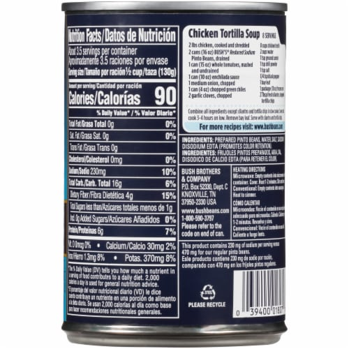 Bush's Best Reduced Sodium Pinto Beans Perspective: back