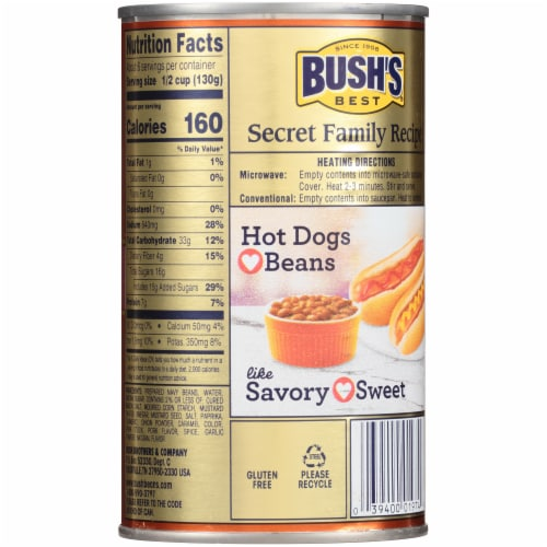 Bush's Best Country Style Baked Beans Perspective: back