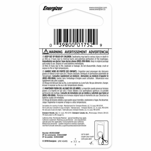 Energizer® 3-Volt 2430 Lithium Coin Battery Perspective: back