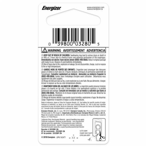 Energizer® 2032 3-Volt Lithium Coin Battery Perspective: back