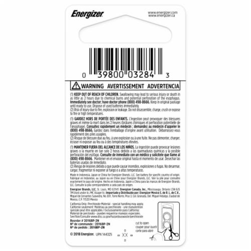 Energizer® 2016 3-Volt Lithium Coin Batteries Perspective: back