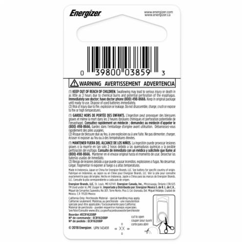 Energizer® 3-Volt 1620 Lithium Coin Battery Perspective: back