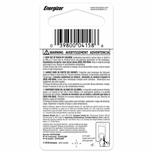 Energizer® 3-Volt 1632 Lithium Coin Battery Perspective: back