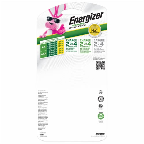 Energizer® Recharge Basic Charger with AA Batteries Perspective: back
